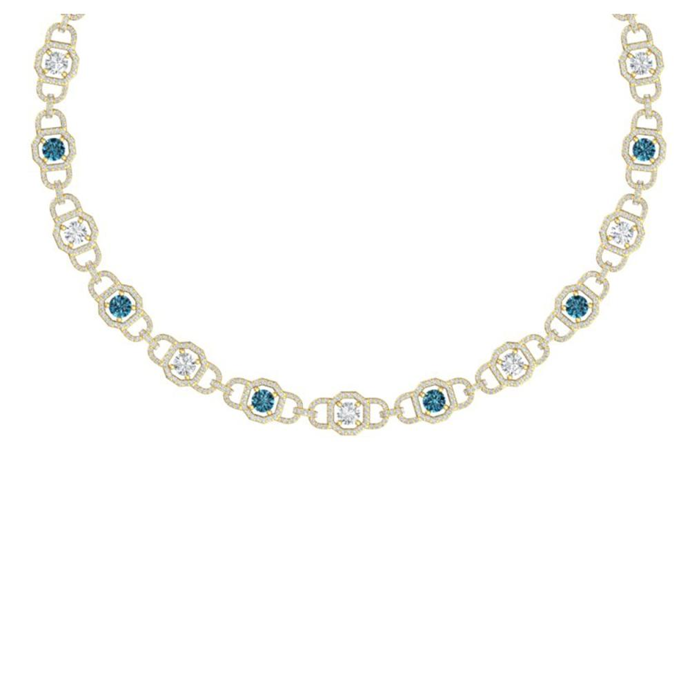 25 ctw SI/I Intense Blue And Diamond Necklace 18K Yellow Gold - REF-2070H2M - SKU:40126
