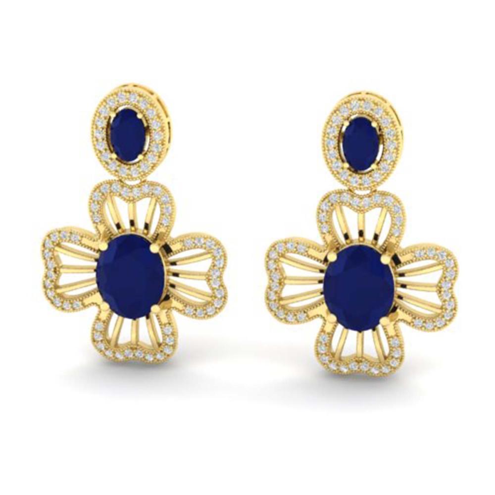 9.26 ctw Sapphire & VS/SI Diamond Earrings 14K Yellow Gold - REF-156N2A - SKU:21132