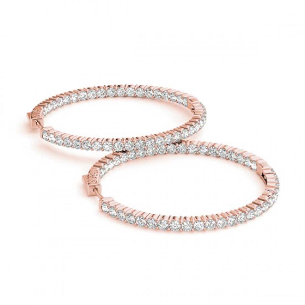 1.50 ctw Diamond VS/SI 20 mm Hoop Earrings 14K Rose Gold - REF-105F5N - SKU:29027