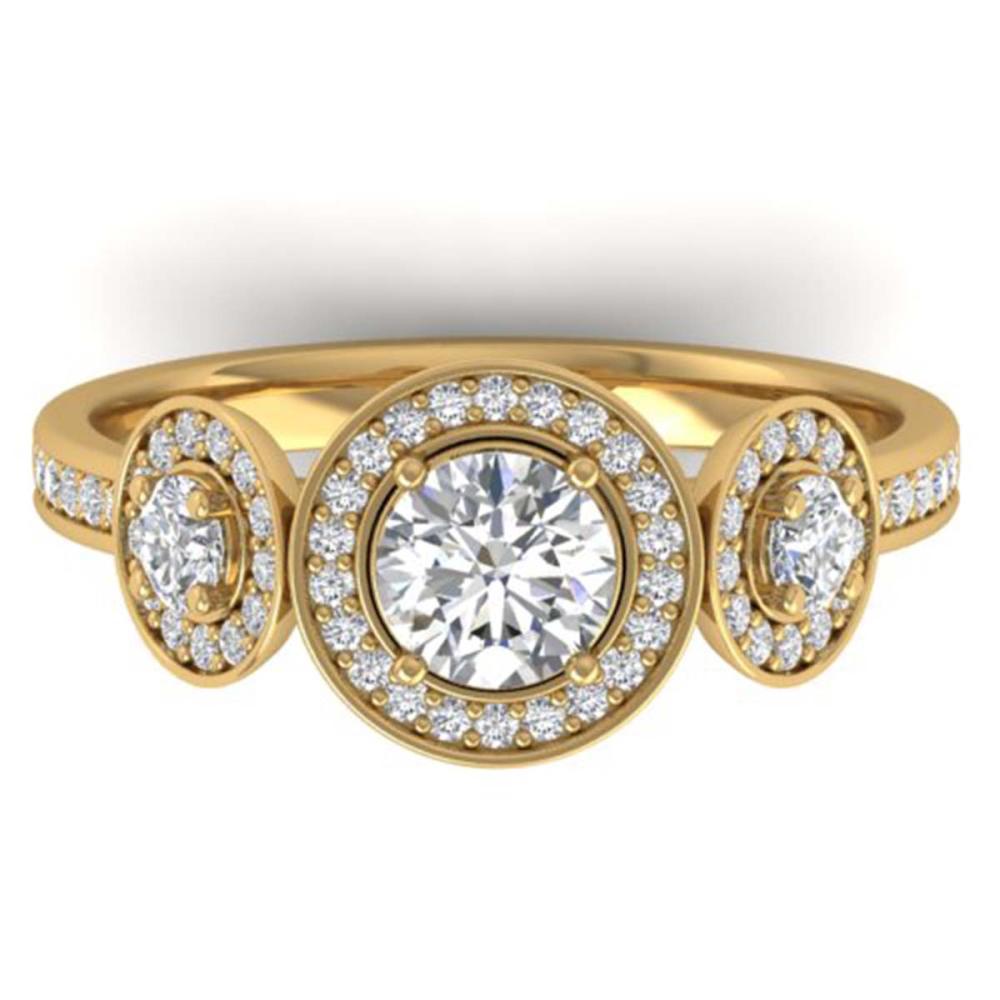 1.25 ctw VS/SI Diamond Art Deco 3 Stone Ring 18K Yellow Gold - REF-151W6H - SKU:32620