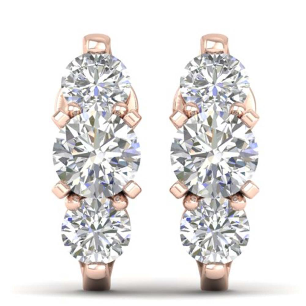 2 ctw VS/SI Diamond 3 Stone Stud Earrings 18K Rose Gold - REF-244V2Y - SKU:32736