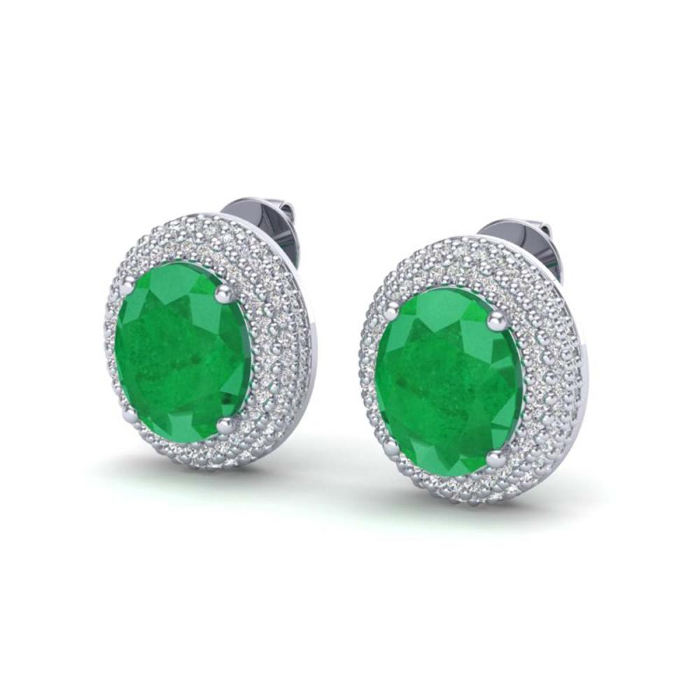 9.20 ctw Emerald & VS/SI Diamond Earrings 18K White Gold - REF-190M2F - SKU:20223