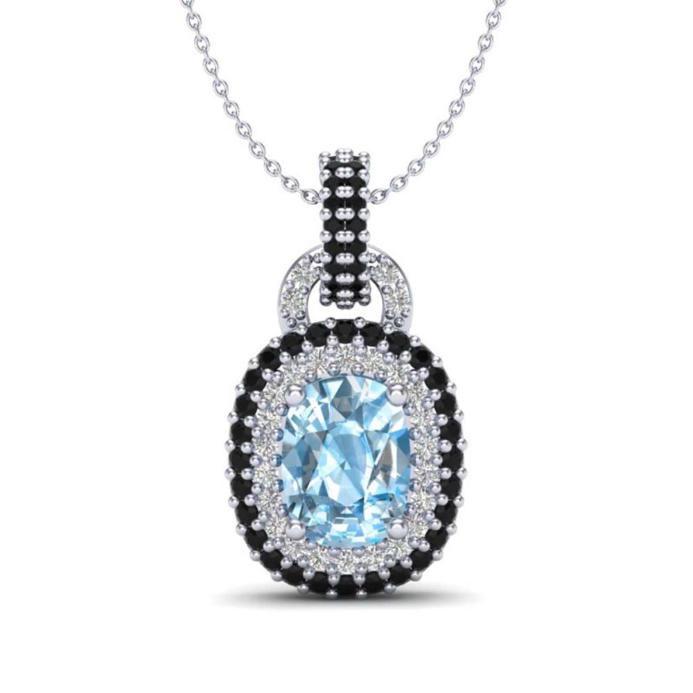2.50 ctw Sky Blue Topaz & Black, Diamond Necklace 14K White Gold - REF-68A2V - SKU:20421