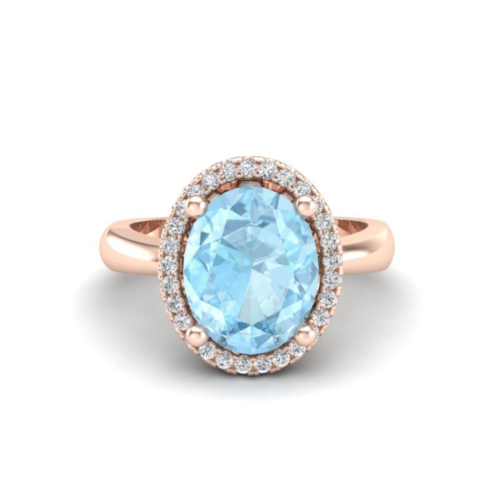 2.50 ctw Aquamarine & VS/SI Diamond Ring 14K Rose Gold - REF-53V5Y - SKU:21094