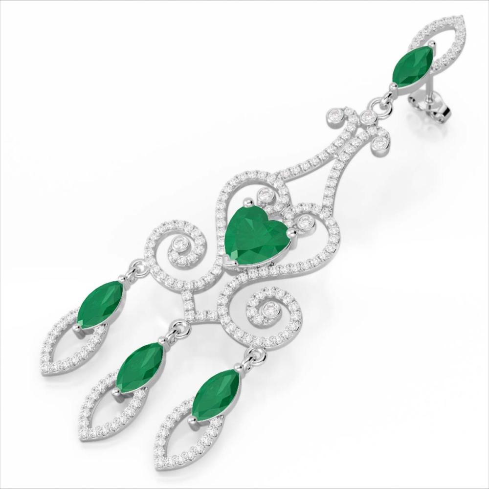 11 ctw Emerald & VS/SI Diamond Earrings 14K White Gold - REF-343N6A - SKU:23573