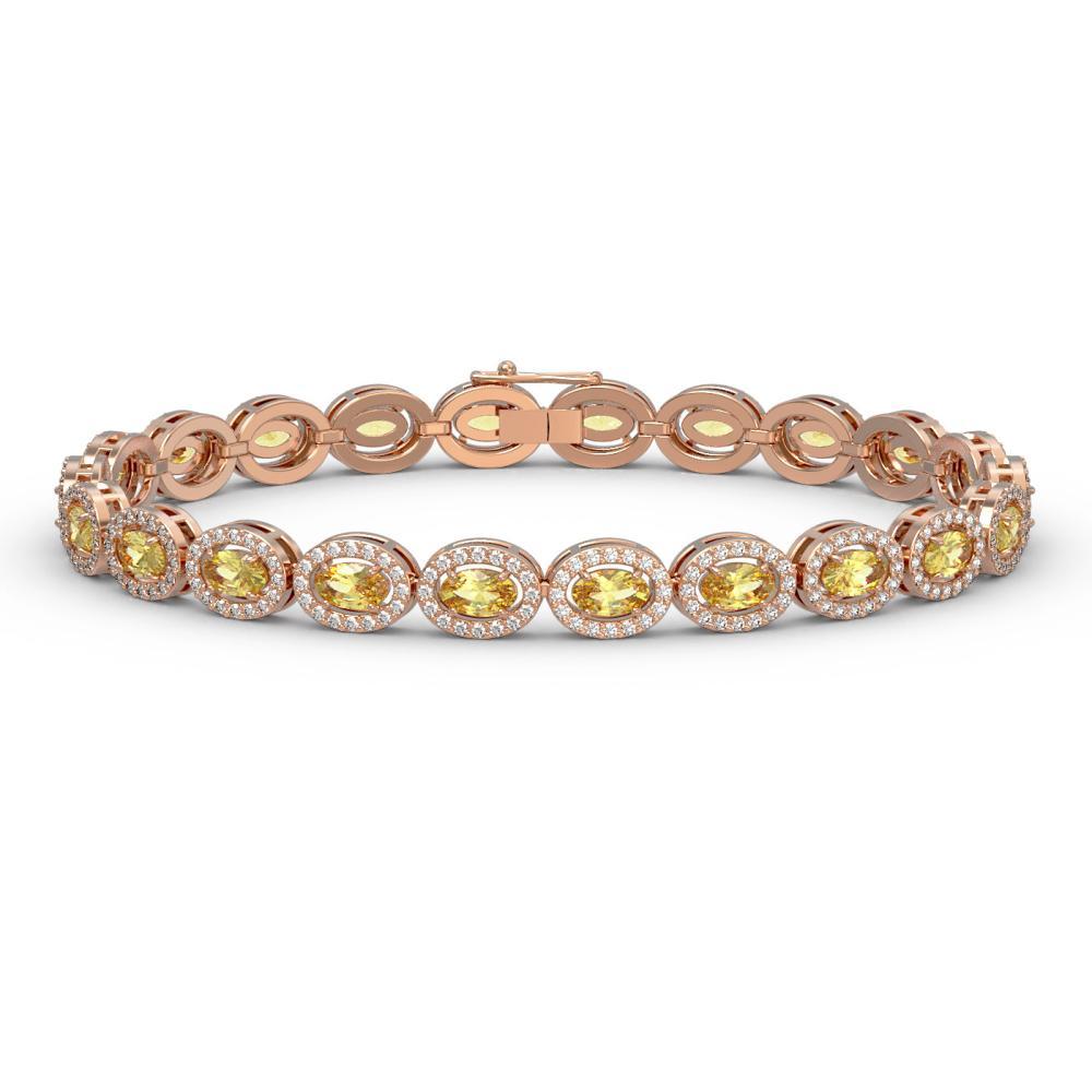 10.07 ctw Fancy Citrine & Diamond Halo Bracelet 10K Rose Gold - REF-219W3H - SKU:40392
