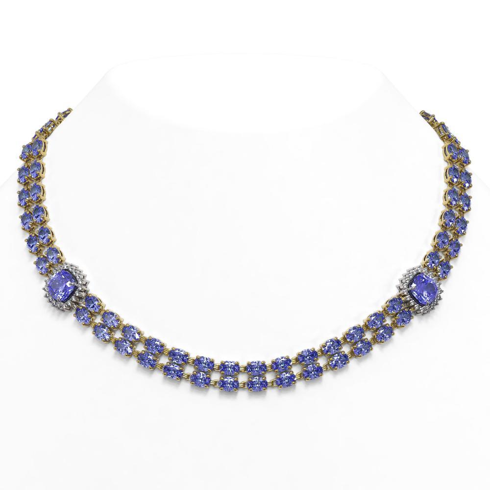 37.96 ctw Tanzanite & Diamond Necklace 14K Yellow Gold - REF-501R6K - SKU:44692