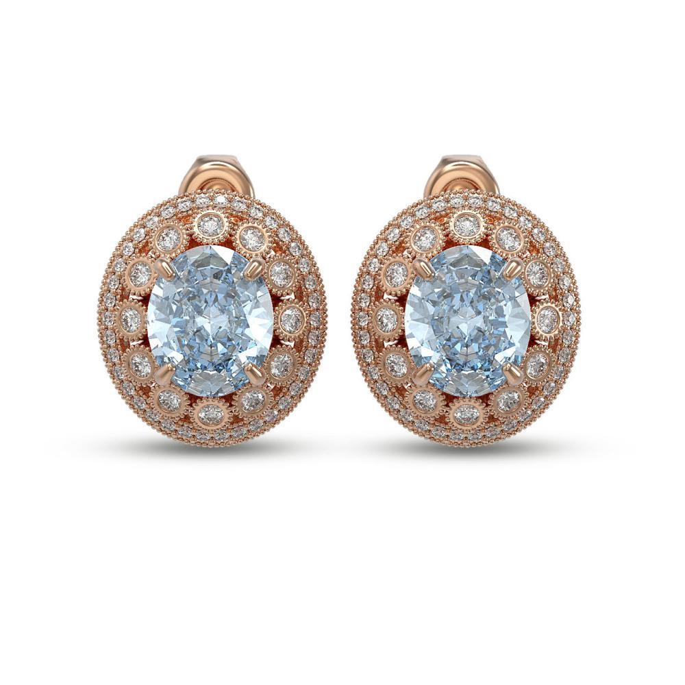 13.21 ctw Aquamarine & Diamond Earrings 14K Rose Gold - REF-410V2Y - SKU:43803