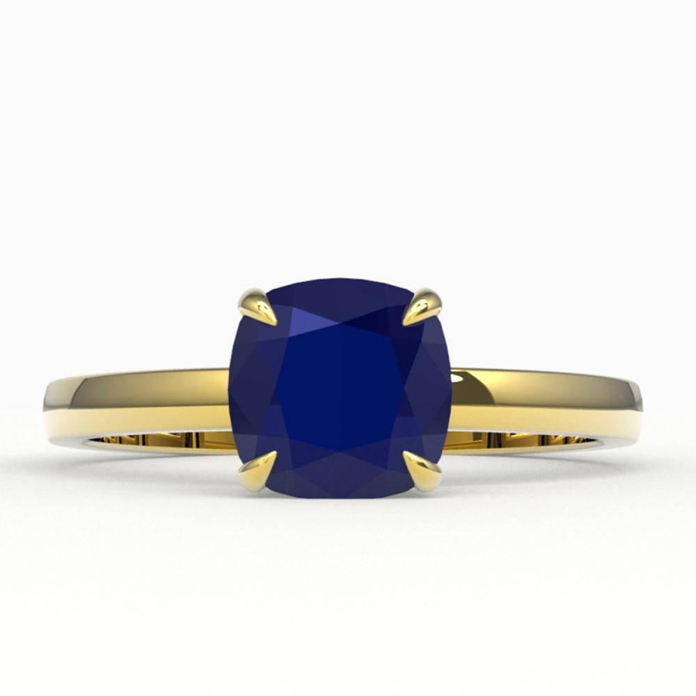 2 ctw Cushion Cut Sapphire Solitaire Ring 18K Yellow Gold - REF-37Y3X - SKU:22161