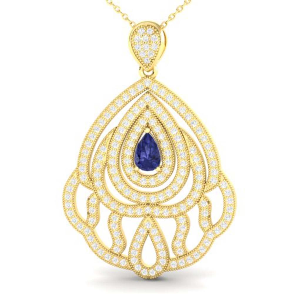 2 ctw Tanzanite & VS/SI Diamond Necklace 18K Yellow Gold - REF-180V2Y - SKU:21275