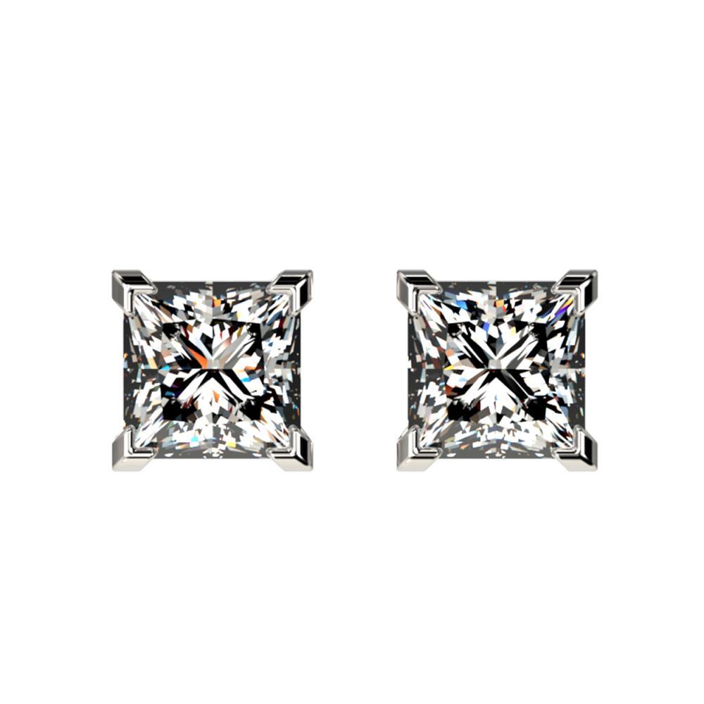 1 ctw VS/SI Princess Diamond Stud Earrings 10K White Gold - REF-147W2H - SKU:33063