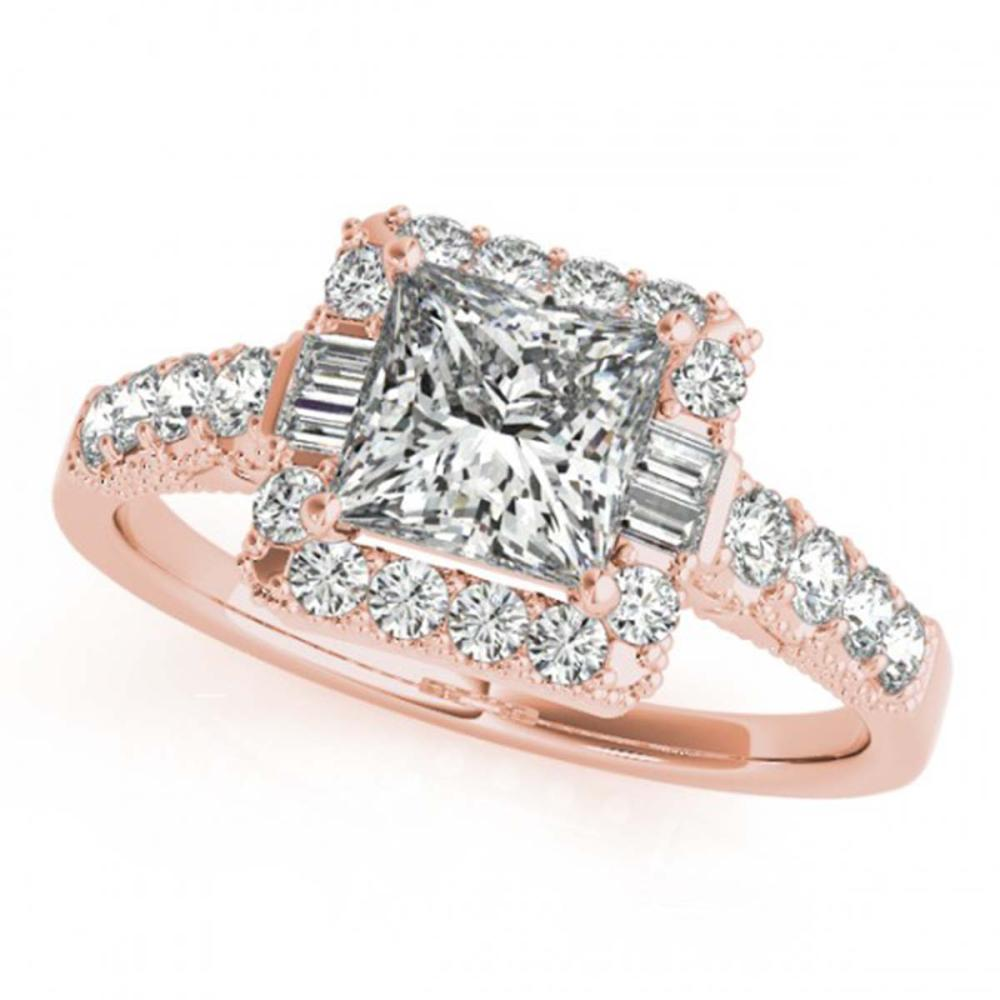 1.65 ctw VS/SI Princess Diamond Halo Ring 14K Rose Gold - REF-170A2V - SKU:25041