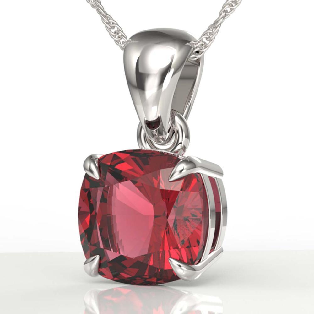 2 ctw Cushion Cut Pink Tourmaline Necklace 18K White Gold - REF-40Y2X - SKU:21956