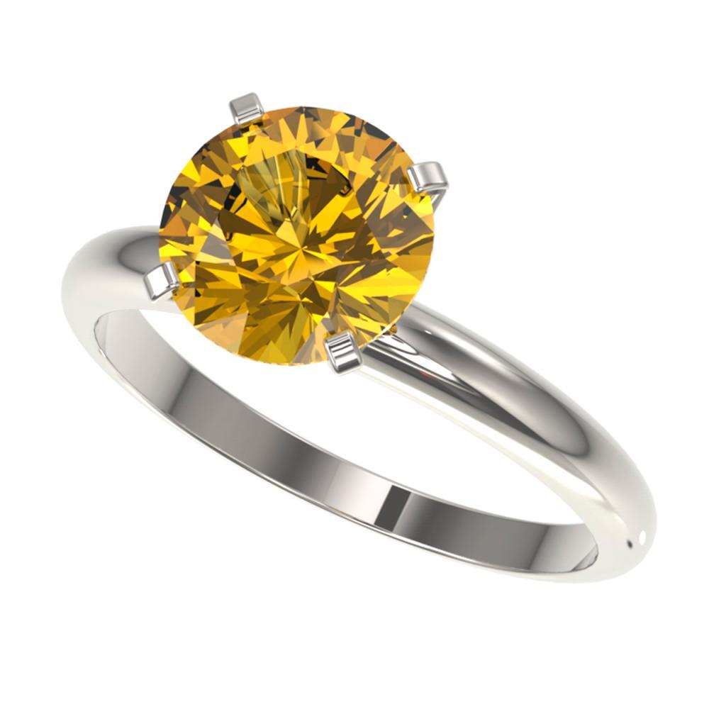 2.50 ctw Intense Yellow Diamond Solitaire Ring 10K White Gold - REF-690M2F - SKU:32950