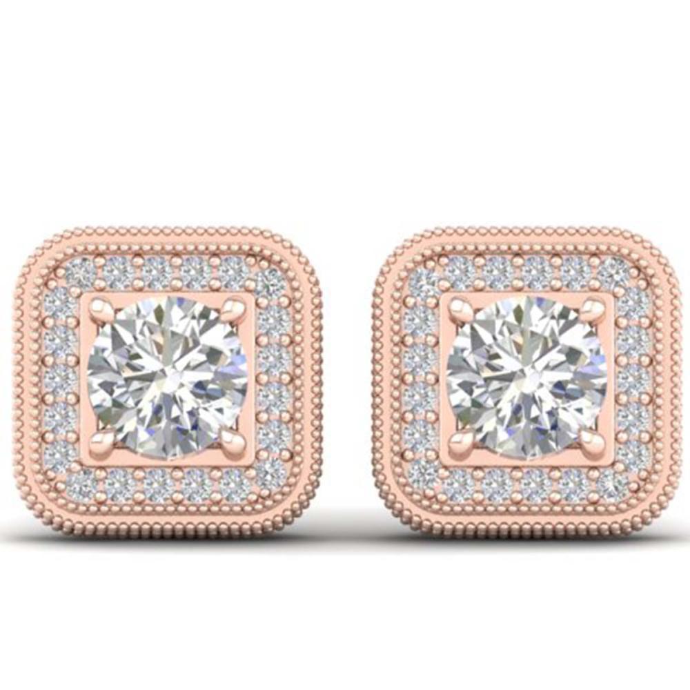 2 ctw VS/SI Diamond Art Deco Stud Earrings 18K Rose Gold - REF-240R2K - SKU:32757