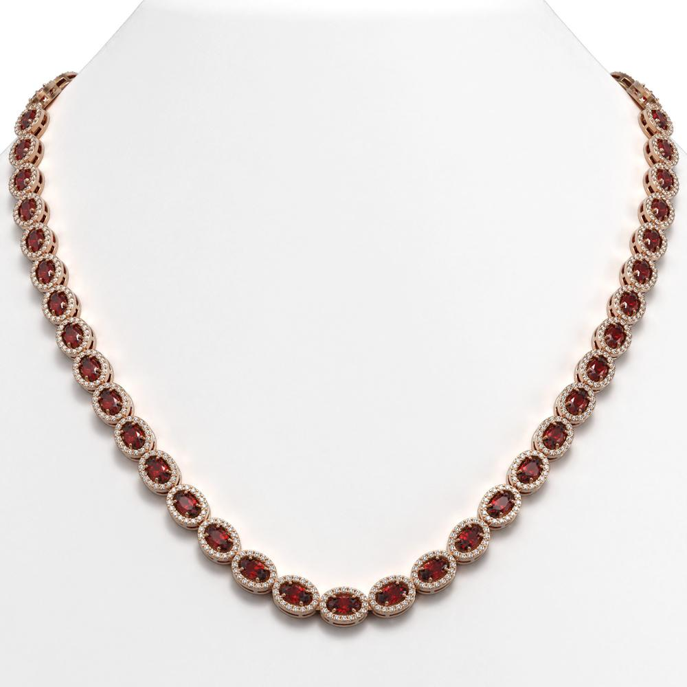 21.04 ctw Garnet & Diamond Halo Necklace 10K Rose Gold - REF-478N4A - SKU:40344