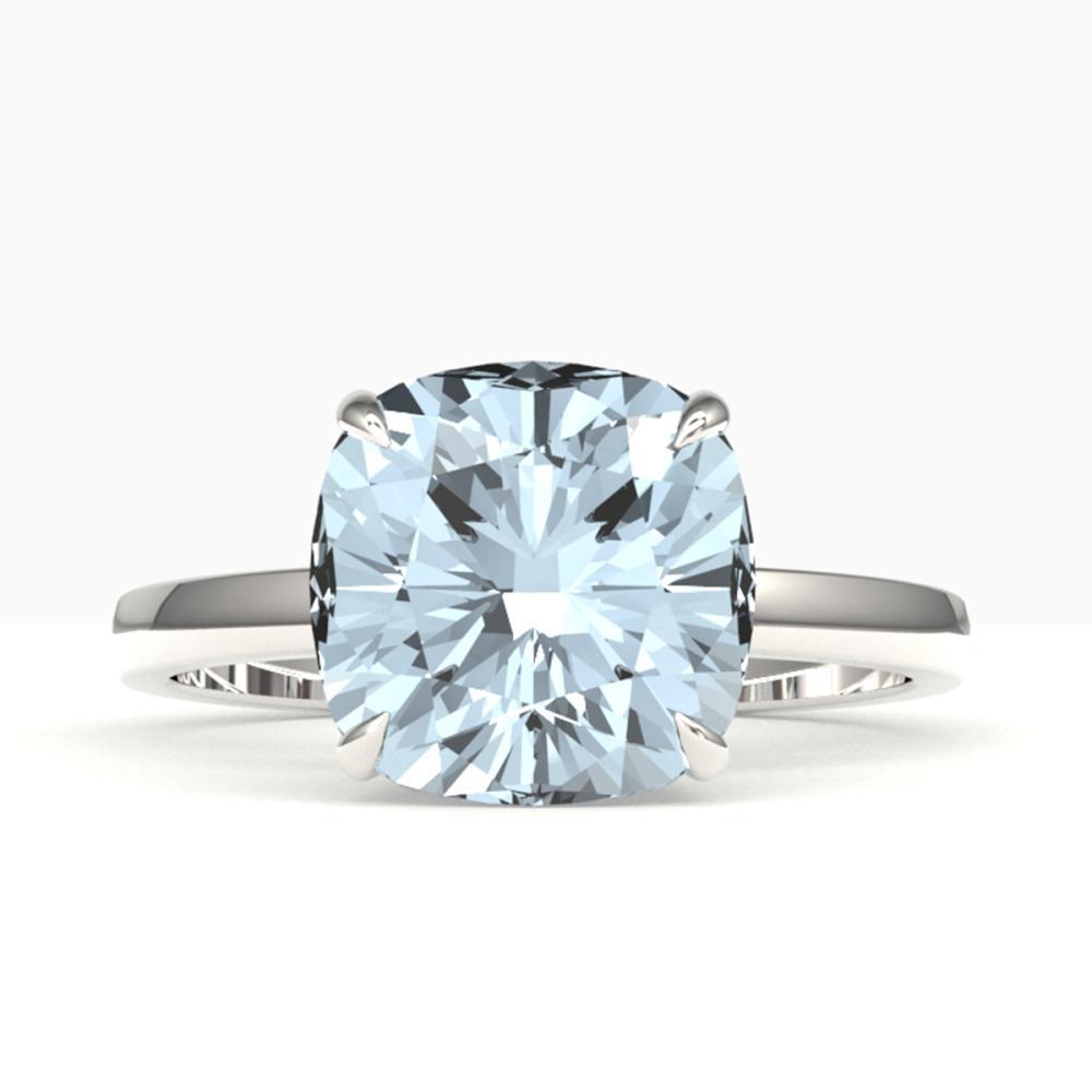 4.50 ctw Cushion Aquamarine Ring 18K White Gold - REF-81Y8X - SKU:22172