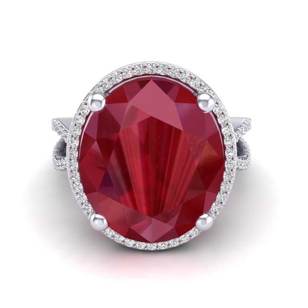 12 ctw Ruby & VS/SI Diamond Ring 18K White Gold - REF-143A6V - SKU:20965