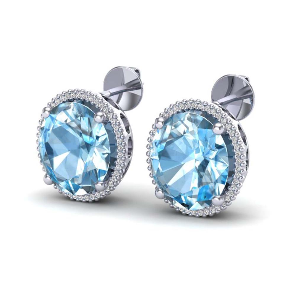 25 ctw Sky Blue Topaz & VS/SI Diamond Earrings 18K White Gold - REF-125Y6X - SKU:20265