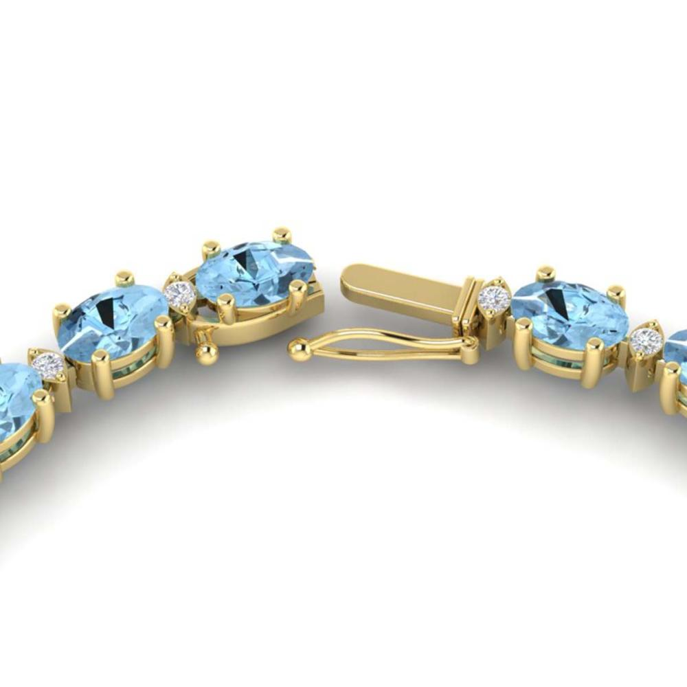 24 ctw Aquamarine & VS/SI Diamond Eternity Necklace 10K Yellow Gold - REF-243R5K - SKU:21585