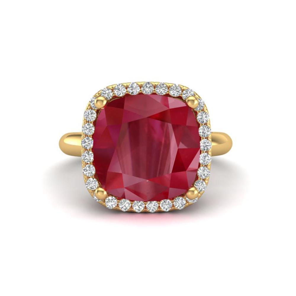 6 ctw Ruby & VS/SI Diamond Ring 18K Yellow Gold - REF-77F3N - SKU:23103