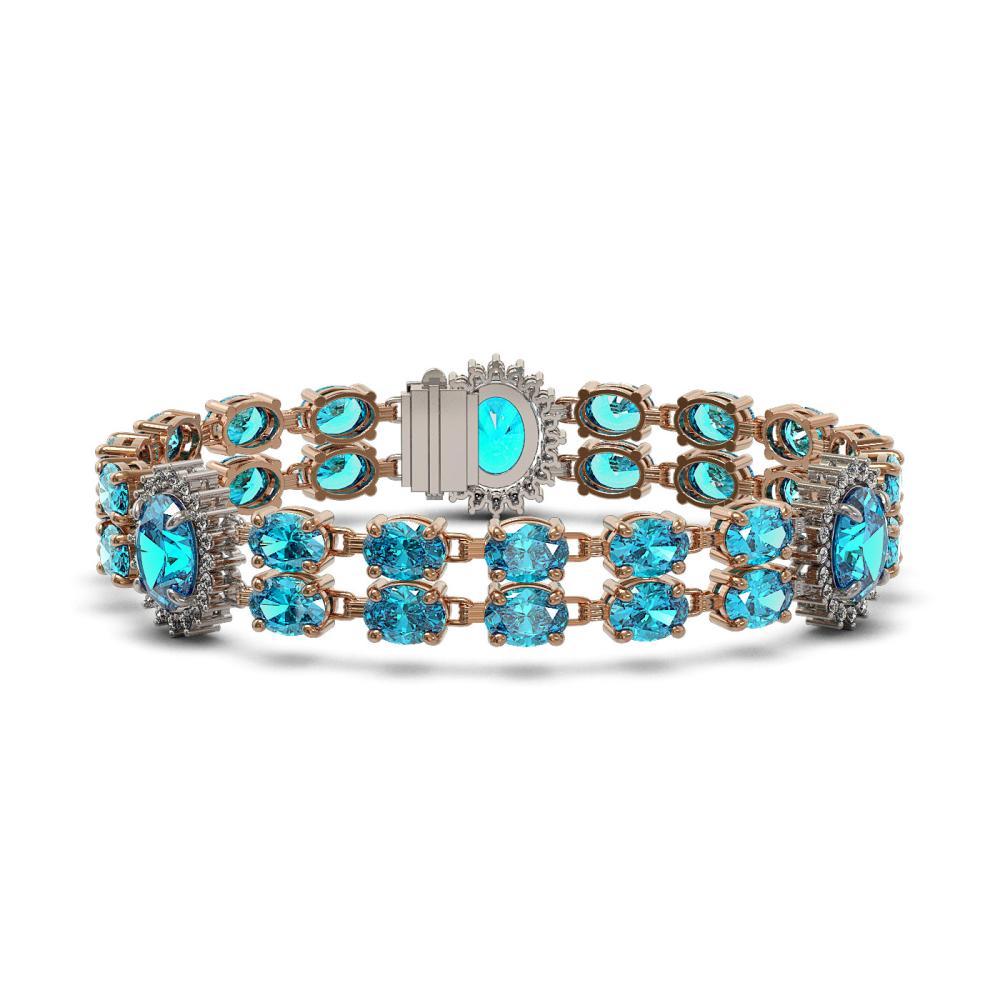 19.3 ctw Swiss Topaz & Diamond Bracelet 14K Rose Gold - REF-165R4K - SKU:44259