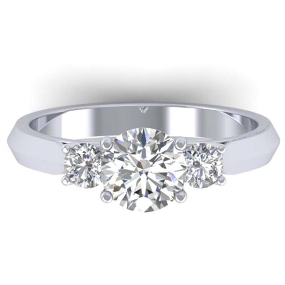 1.50 ctw VS/SI Diamond Solitaire 3 Stone Ring 18K White Gold - REF-400N2A - SKU:32570