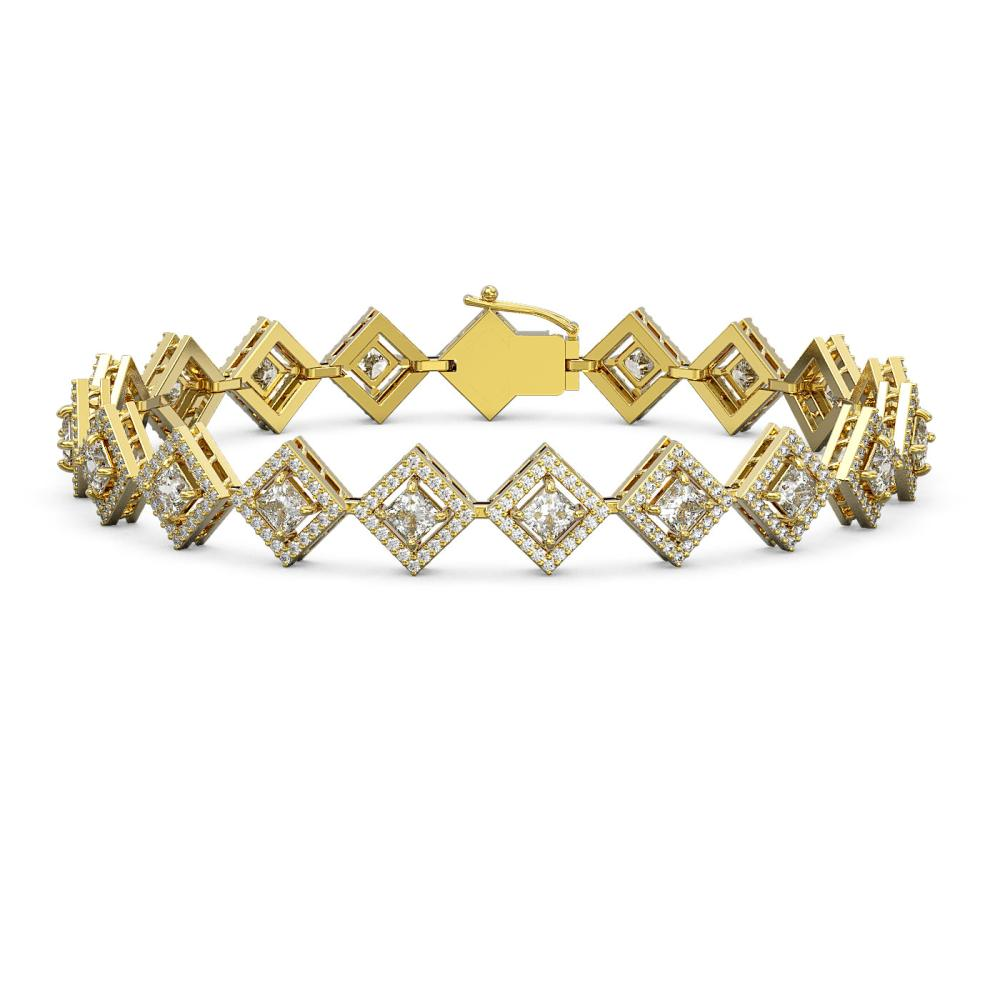 7.2 ctw Princess Diamond Bracelet 18K Yellow Gold - REF-617V3Y - SKU:42970
