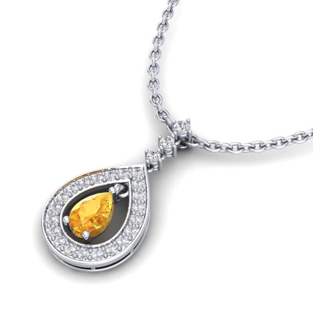 1.15 ctw Citrine & VS/SI Diamond Necklace 14K White Gold - REF-61W3H - SKU:23163