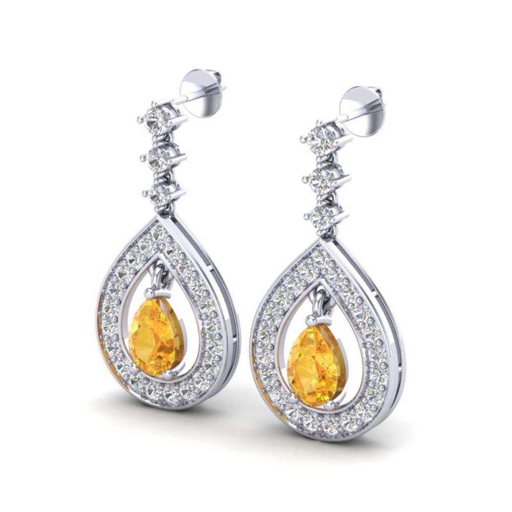 2.25 ctw Citrine & VS/SI Diamond Earrings 14K White Gold - REF-99F8N - SKU:23148