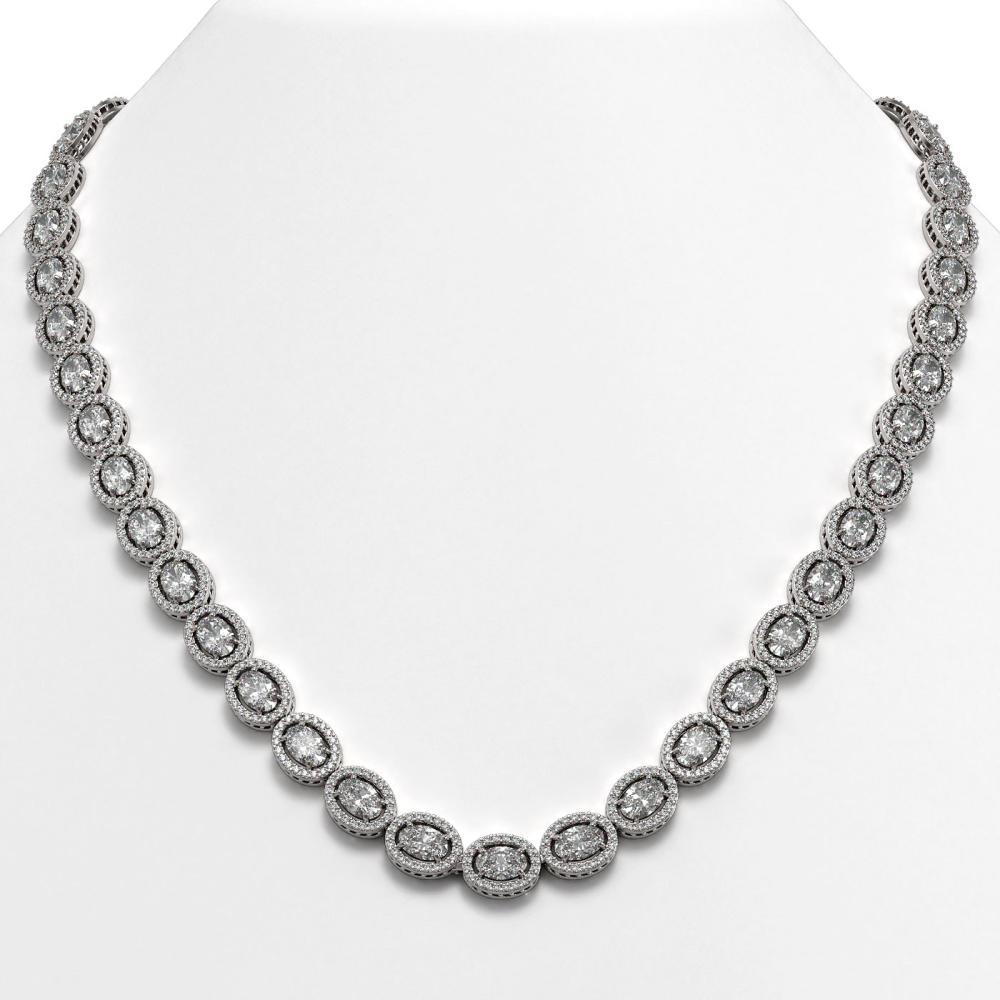 30.41 ctw Oval Diamond Necklace 18K White Gold - REF-4148F9N - SKU:42614