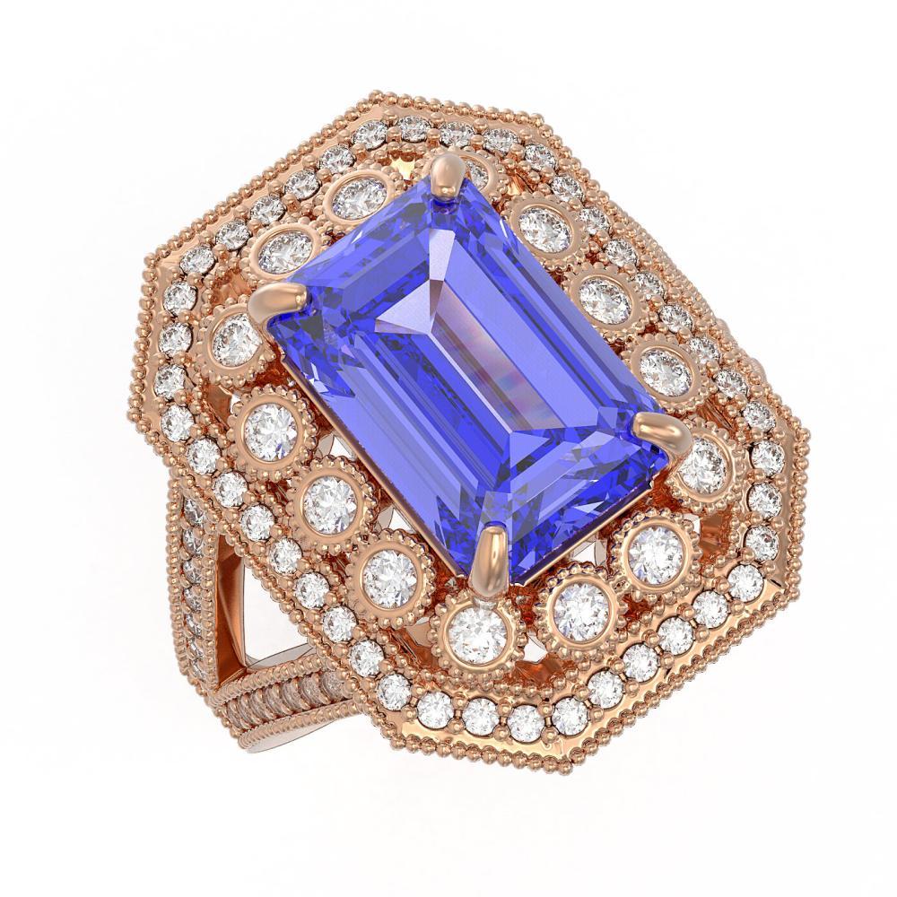 5.86 ctw Tanzanite & Diamond Ring 14K Rose Gold - REF-263M5F - SKU:43374