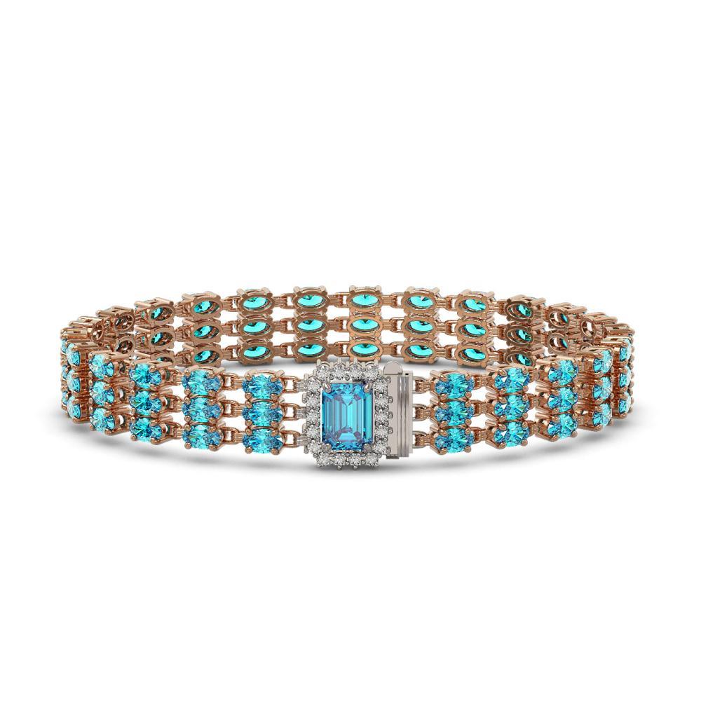 26.02 ctw Swiss Topaz & Diamond Bracelet 14K Rose Gold - REF-232F7N - SKU:45969