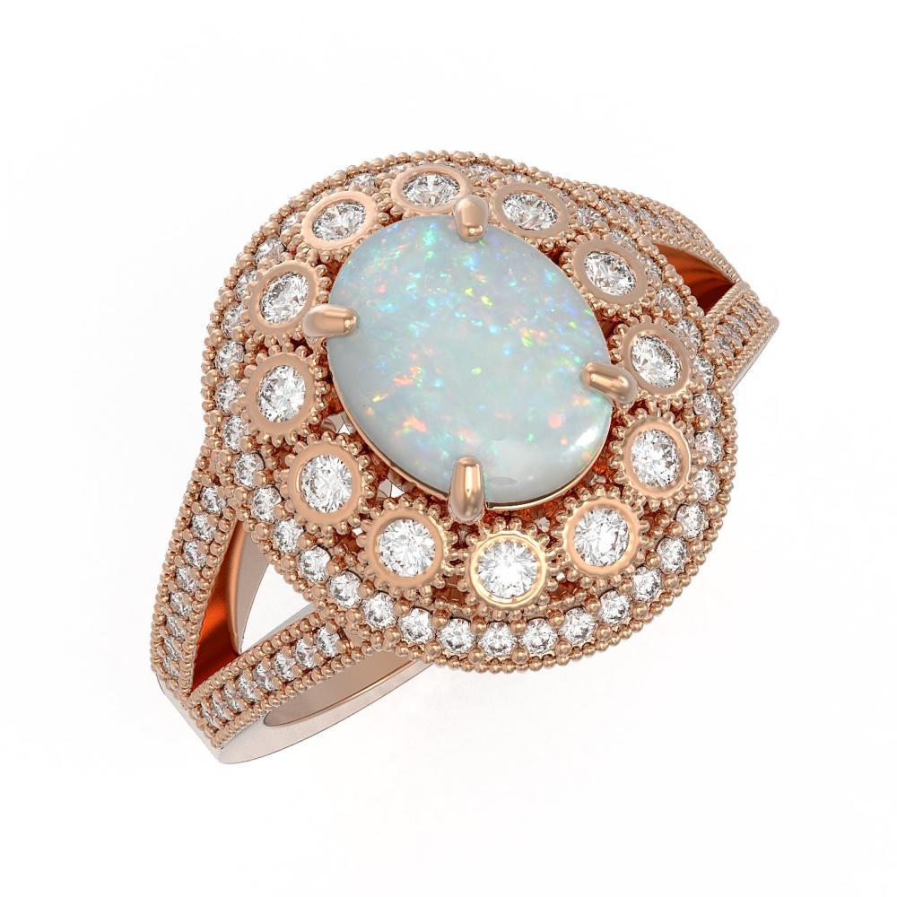 3.93 ctw Opal & Diamond Ring 14K Rose Gold - REF-149R3K - SKU:43593