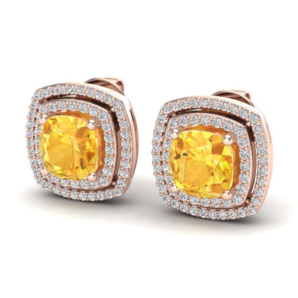 3.55 ctw Citrine And VS/SI Diamond Earrings 14K Rose Gold - REF-84A7V - SKU:20159