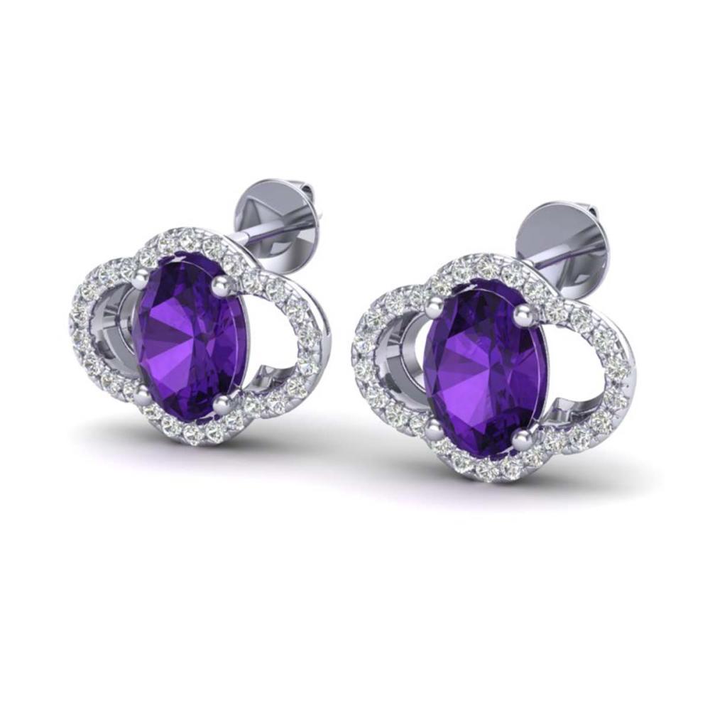 4 ctw Amethyst And VS/SI Diamond Earrings 10K White Gold - REF-58N2A - SKU:20280