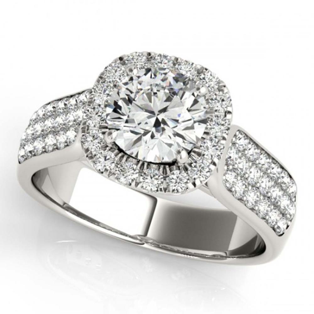 1.80 ctw VS/SI Diamond Solitaire Halo Ring 14K White Gold - REF-303M3F - SKU:24638