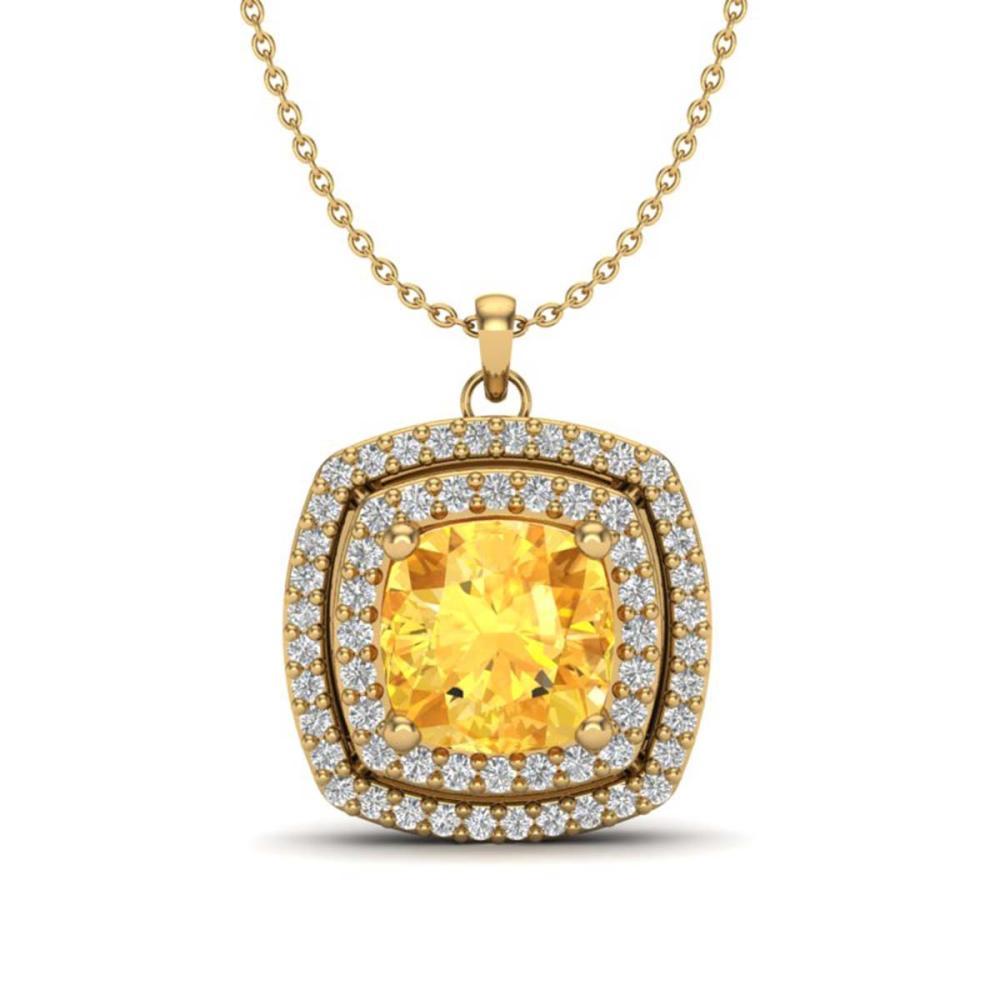 1.77 ctw Citrine & VS/SI Diamond Necklace 18K Yellow Gold - REF-63R5K - SKU:20453