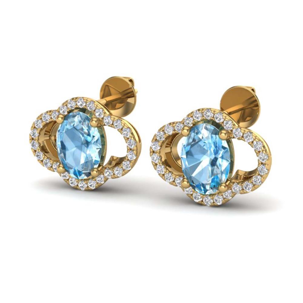 4 ctw Sky Blue Topaz & VS/SI Diamond Earrings 10K Yellow Gold - REF-58X2R - SKU:20287