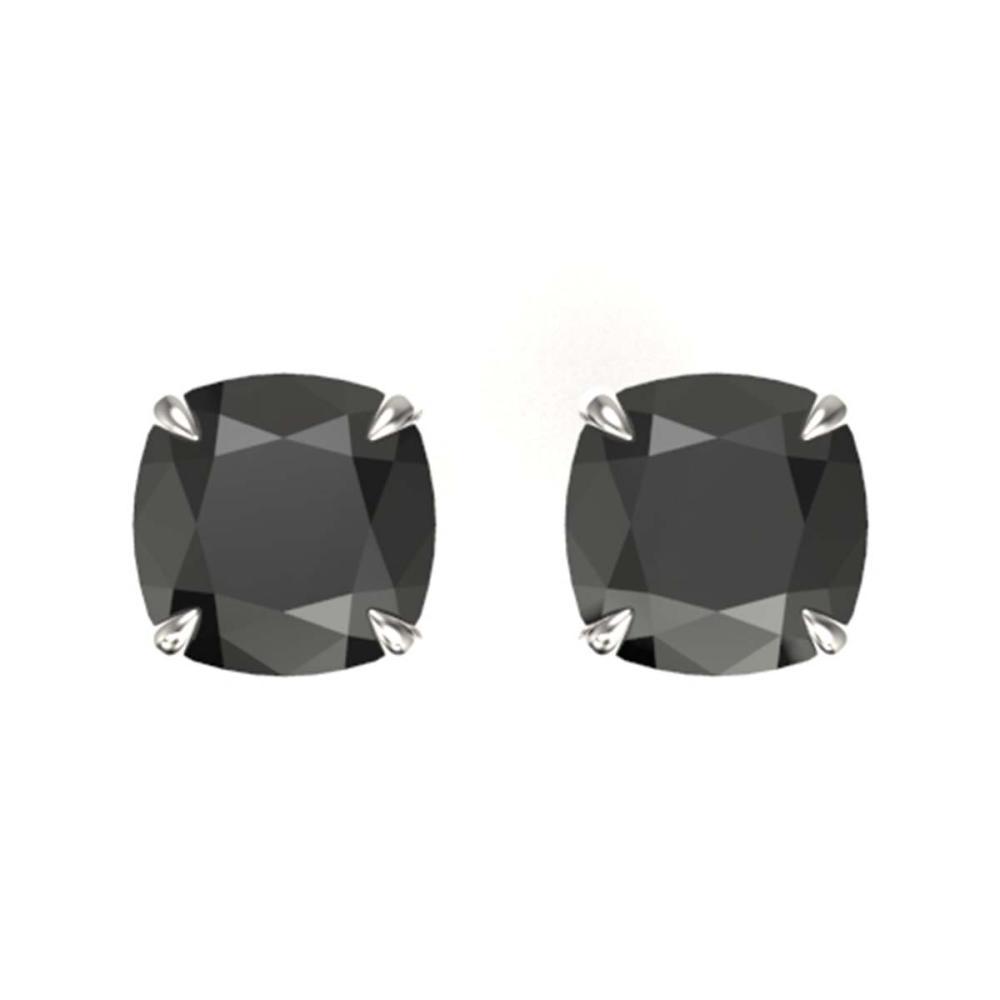 6 ctw Cushion Black VS/SI Diamond Earrings 18K White Gold - REF-163N6A - SKU:21735