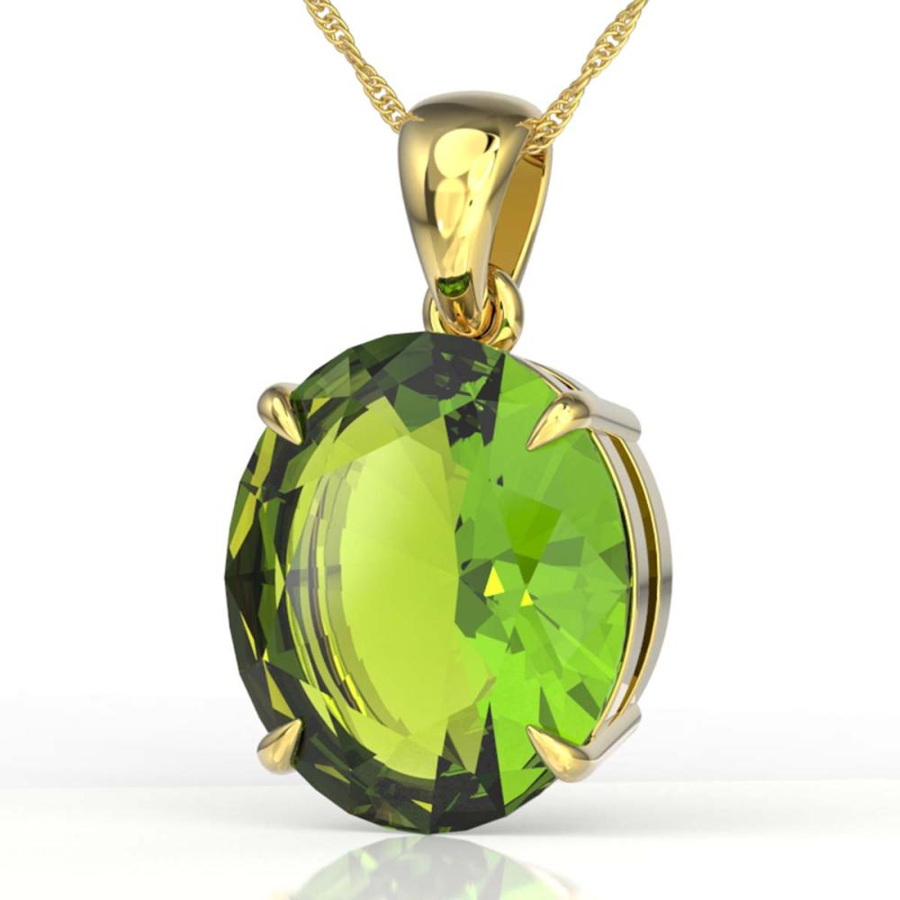 9 ctw Peridot Solitaire Necklace 18K Yellow Gold - REF-89H3M - SKU:21914