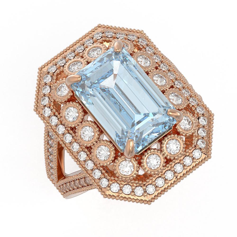 5.69 ctw Aquamarine & Diamond Ring 14K Rose Gold - REF-179H6M - SKU:43377
