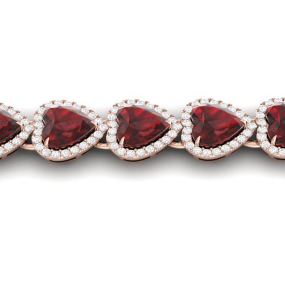 25 ctw Garnet & VS/SI Diamond Bracelet Heart 14K Rose Gold - REF-415M5F - SKU:22616