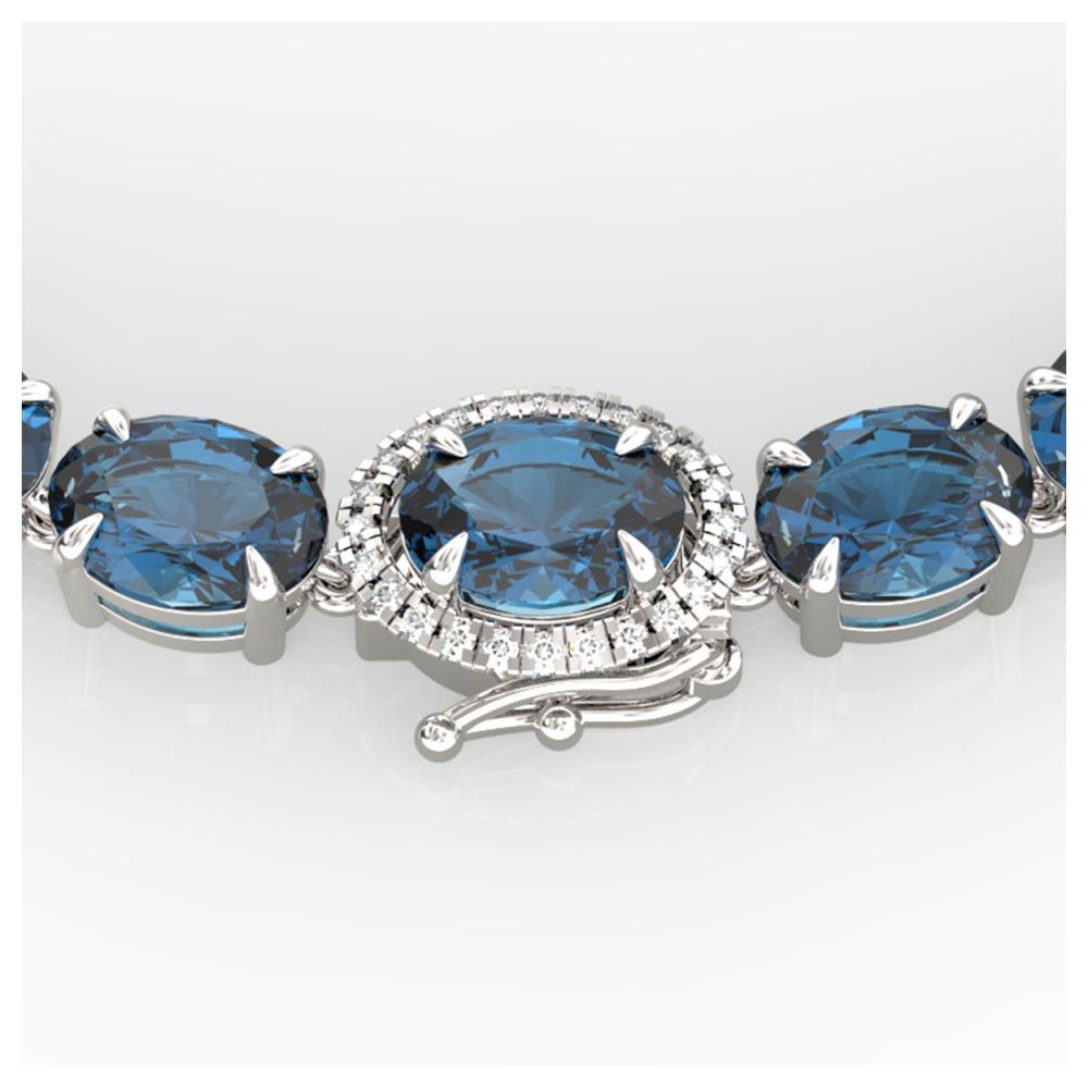 45.25 ctw London Blue Topaz & VS/SI Diamond Necklace 14K White Gold - REF-236X4R - SKU:40289