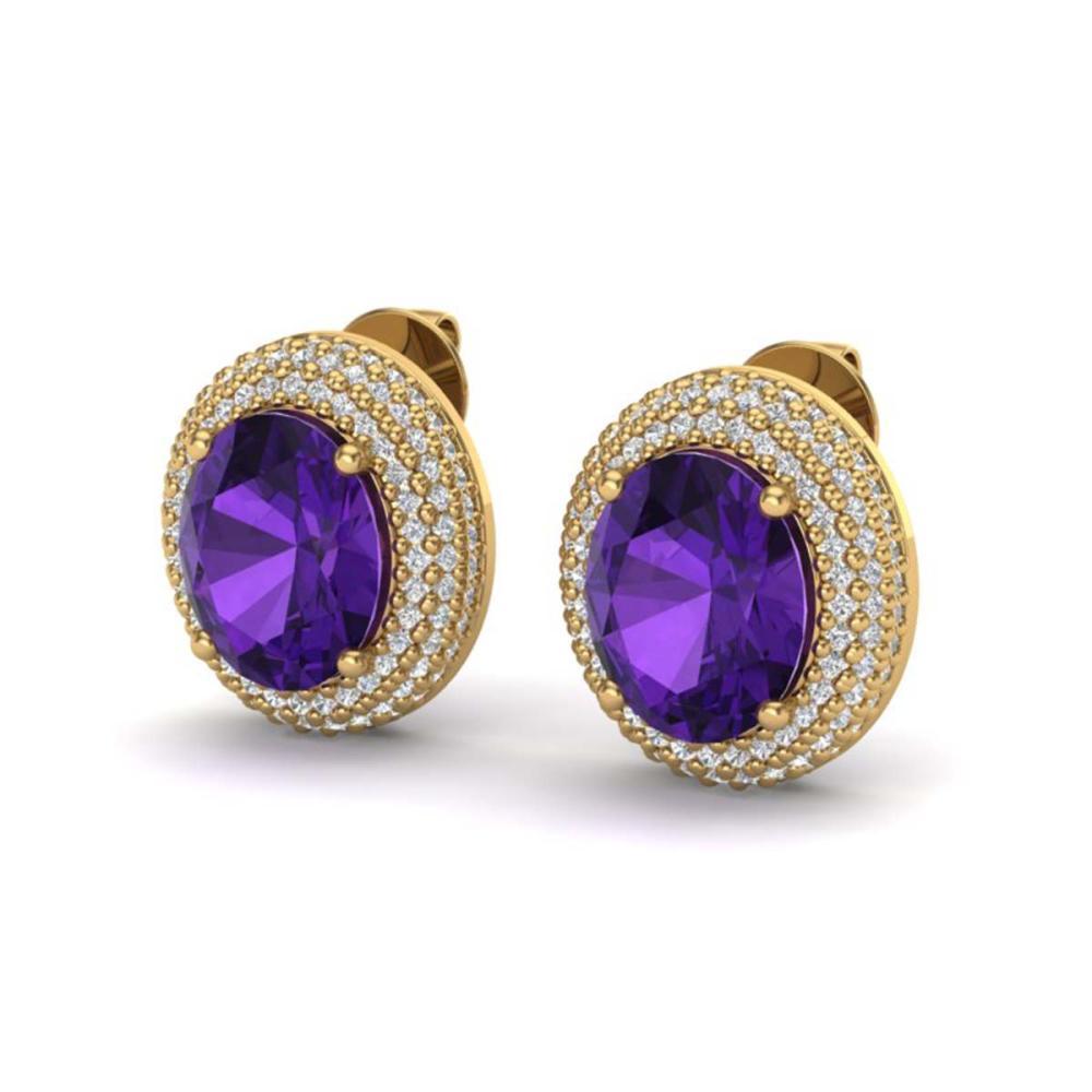8 ctw Amethyst & VS/SI Diamond Earrings 18K Yellow Gold - REF-150R5K - SKU:20213