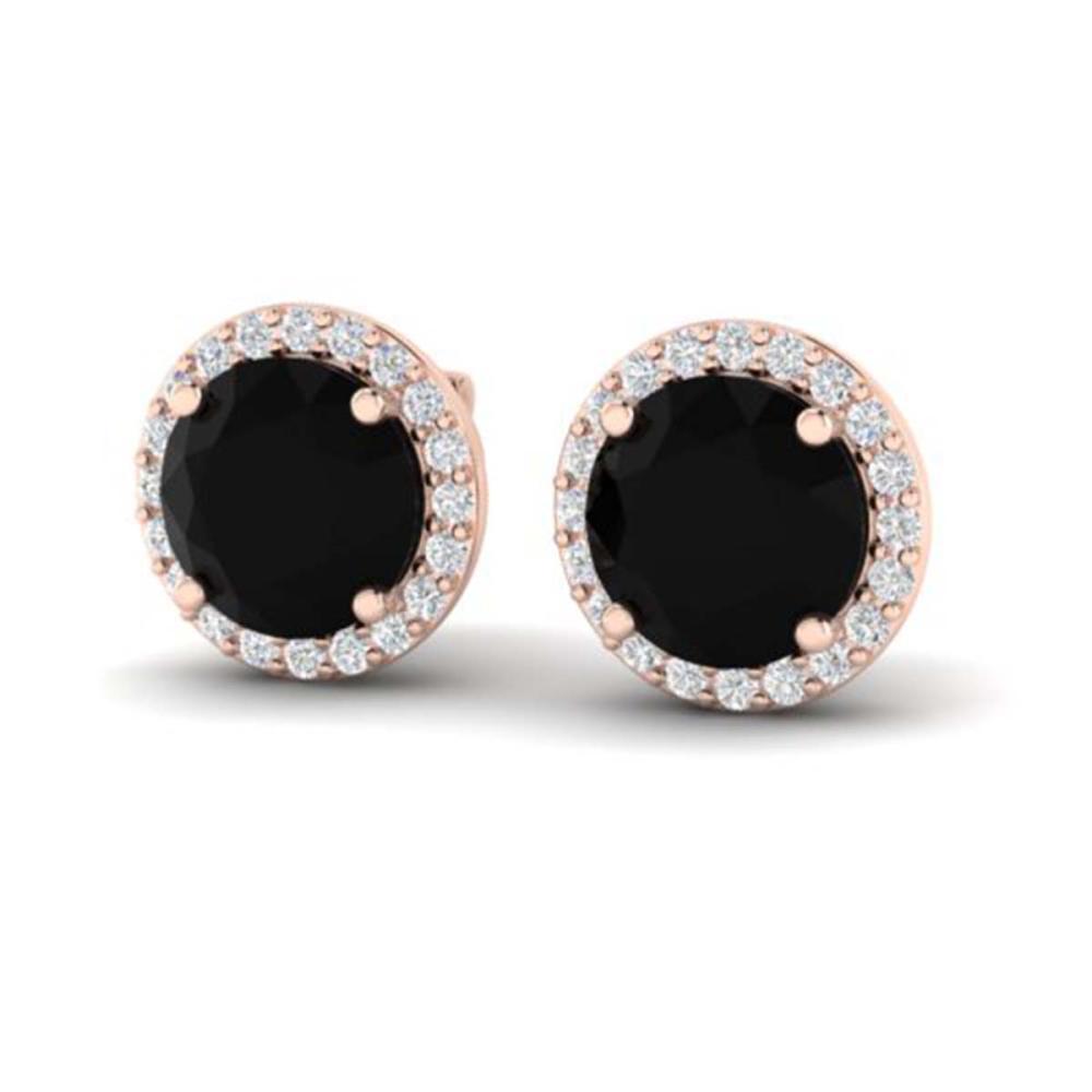 4 ctw Halo VS/SI Diamond Earrings 14K Rose Gold - REF-114R9K - SKU:21479