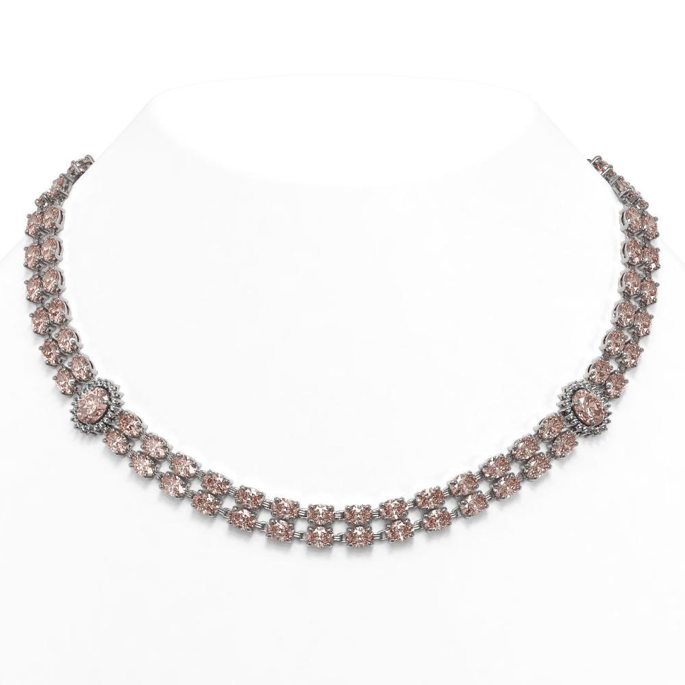 36.2 ctw Morganite & Diamond Necklace 14K White Gold - REF-531H3M - SKU:44180