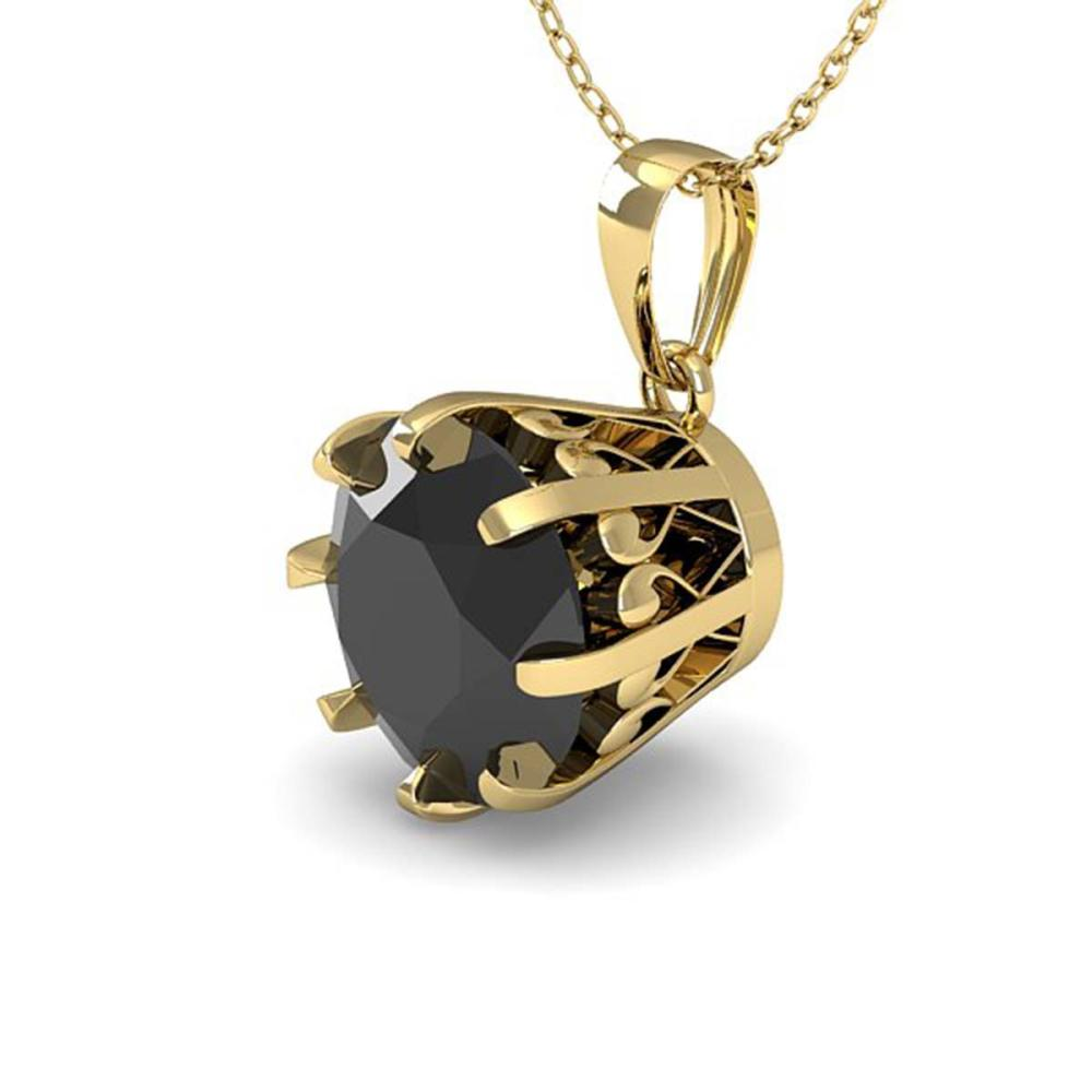 1 ctw Black Diamond Solitaire Necklace 14K Yellow Gold - REF-30F2N - SKU:29575