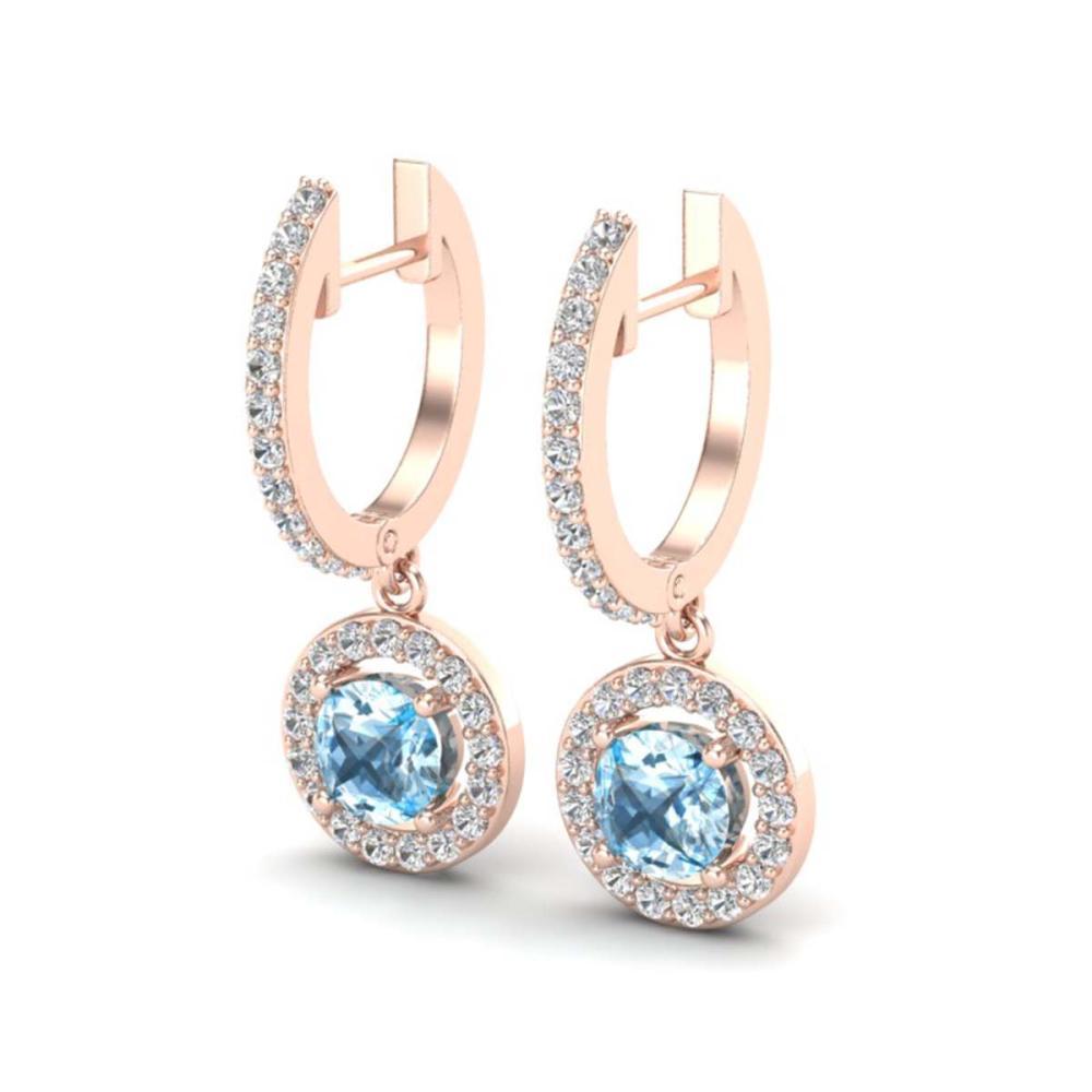 1.75 ctw Sky Topaz & VS/SI Diamond Earrings 14K Rose Gold - REF-71K3W - SKU:23260