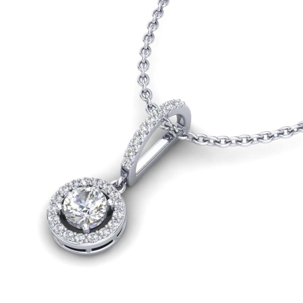 0.90 ctw Halo VS/SI Diamond Necklace 18K White Gold - REF-115N8A - SKU:23270